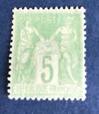 France N°102. 5 C Vert Jaune Neuf ** Beau Centrage Cote 40€+ 50 %