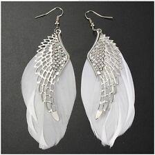 Fashion Women Angel Wing White Feather long Dangle Drop Earrings Jewelry RP128