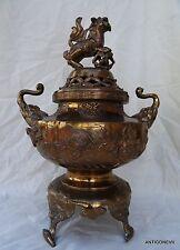 CHINE GRAND BRULE PARFUM EN BRONZE ANCIEN CHIEN DE FO OISEAUX TETES D'ELEPHANT