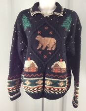 Northern Isles Hand Knitted Size Small Pullover Sweater Cabin Bear Tree