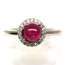 NATURAL 5 mm. PINK RUBY & WHITE CZ RING 925 STERLING SILVER SIZE6.75