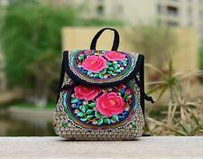 1X Backpack Red Rose Flower Embroidered Folk-Custom Hippie Bag