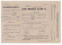 TESSERA ELETTORALE PER L'ANNO  1946 - ELEZIONI AMMINISTRATIVE - CON  MATRICE