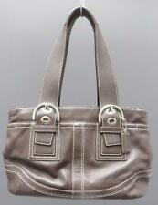 Coach F10911 Brown Leather Soho Topstitch Carryall Satchel Medium Tote Handbag