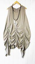 Moonshine Fashion Tunique robe T 40 42 44 Superposé Taupe froncé NEUF