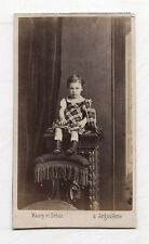 PHOTO CDV Carte de visite Enfant MAURY et DEBAS Angoulême 1870s Robe Carreaux