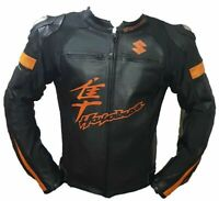 SUZUKI HAYABUSA MOTORCYCLE MOTORBIKE COWHIDE LEATHER ARMOURED BIKERS JACKET