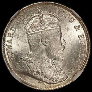 1903 Hong Kong 5 Cents Silver Coin - NGC MS 65 - KM# 12