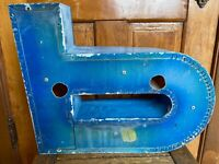 "VTG 18"" Blue Industrial Salvage Metal Block Letter B  Rustic Patina Gas Station"