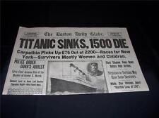 TITANIC BOSTON GLOBE 1912 NEWSPAPER/ MARSH MURDER STORY/ TY COBB QUITS TEAM