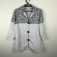 Chico's Tunic Blouse Blazer Size 1 Linen Cotton 3/4 Sleeve White Black Striped