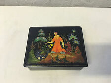 Vintage 1970's Russian Lacquer Signed Box Fairy Tale Scene The Frog Princess