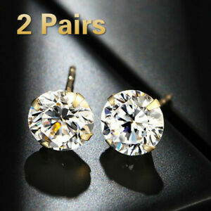 2Pairs Fashion Gold Plated Round Cut Moissanite White Diamond Stud Earrings