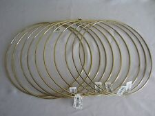 "Lot of 10 Gold Metal Brass Macrame Craft Dreamcatcher Rings 12"" Inch Diameter"