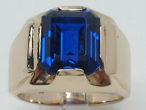 Mens 10k Solid Yellow Gold 5.50ct Tanzanite Solitaire Heavy Vintage Ring Size 8