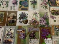 Lot of 25 Pretty *Purple~Violets Flowers~Vintage~Floral Greetings Postcards-s291