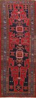 Vintage Tribal Geometric Hand-knotted Runner Rug Hallway Oriental Carpet 4x10