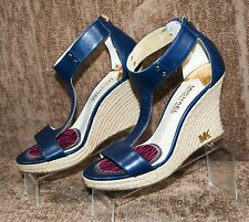 EUC MICHAEL KORS T Strap Espadrille Wedge Sandals Blue Women's 6 M