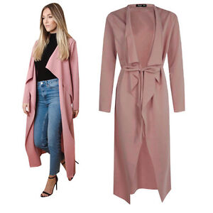Dusty Pink Womens Maxi Midi Long Sleeved Belted Waterfall Duster Coat Jacket