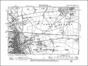 Bury St Edmunds, Great Barton, old map Suffolk 1905: 44NE repro