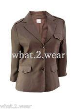 NEW Camaieu Ladies Brown Lined Linen Jacket Plus Size 8 10 12 14 16