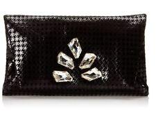 Inge Christopher Carrie Houndstooth Envelope Clutch Black W/ SWAROVSKI Crystals