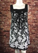 Glamour Black White Floral Tunic Dress Size 10