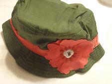 Gymboree Friendship Camp Size 5 6 7  Green Cotton Flower Gem Bucket Hat NWT