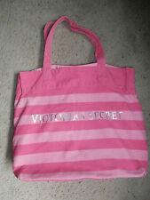 Victorias Secret Pink Striped Canvas Tote Beach GYM Bag XLARGE VS SILVER LOGO