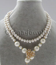 "P7190-35"" 8-9mm white freshwater pearl+14mm white south sea shell pearl necklace"