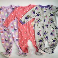 Carters Baby Girls Fleece Footed Pajama Zip Sleeper Lot 3 12 Month