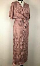 ZARA Pink Lavender Crease Wrap Dress M Satin Short Sleeve NWT