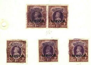 INDIA KGVI Stamps {9} HIGH VALUES Service Overprint Page ex Collection MA987
