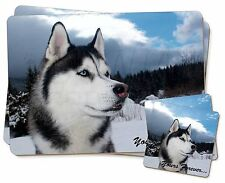 Siberian Husky Dog 'Yours Forever' Twin 2x Placemats+2x Coasters Set , AD-H52YPC