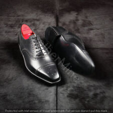 Handmade leather Men's Lace Up Dress brogue shoes Black leather wingtip shoes