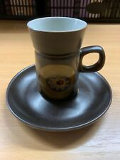 1960s DENBY ARABESQUE POTTERY COFFEE CUP & SAUCER GREAT FOR EXPRESSO POD MACHINE