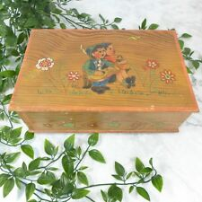 Antique Wooden Hand Painted Children & Floral Scene Trinket Jewelry Box 10.25""