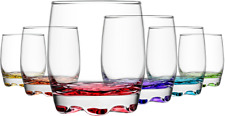 AUCTION Set of 6 Drinking Glasses With Coloured Base Whisky Drink Glass Tumbler