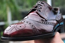 PRADA Man's Burnished  Ripped Cherry Leather Oxford Shoes Brand Size 7.5