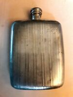Old Vintage Pewter 6 oz Hip Flask with Pewter Mark ? C A
