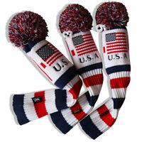 3Pcs USA Pom Pom Golf Headcover Driver Fairway Wood Club Head Cover Knit Socks