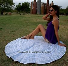 Indian Round Roundie Hippie Silver Ombre Mandala Tapestry Beach Throw Yoga Mat