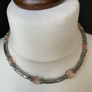 Costume Jewellery Necklace Silver Tone Etched Bars Pink Glass Stones Short Boho
