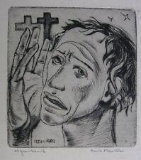 HENK BROKKE (HENDRIK BROKKE) ´PORTRAIT EINES JUNGEN MANNES #2´, RADIERUNG, ~1945
