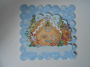 PK 2 CHRISTMAS GINGERBREAD HOUSE TOPPERS FOR CARDS AND CARDS