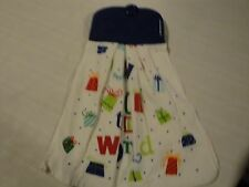 Hanging Dish Towel blue 1 Christmas holiday Made with Pot Holders kitchen decor