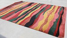 R372 Multicolored Stripe Tibetan Woolen Rug 9' X 12' Handmade In Nepal