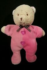 "Carters Pink Bear Rattle Plush Hearts Brown Polka Dot Bow 9"" Stuffed Animal Baby"