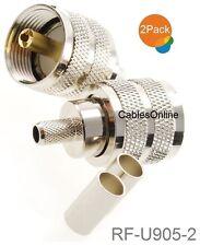 2-Pack UHF PL259 Male Crimp On Connector for RG58 RG142 LMR195 LMR200 Cable