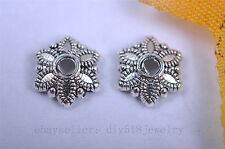50pcs 8mm flower bead caps Charms silver plated metal diy jewelry finding 7042